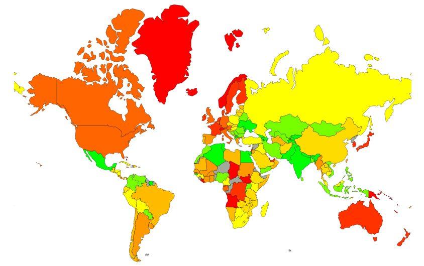 Światowy ranking cen - Mapa